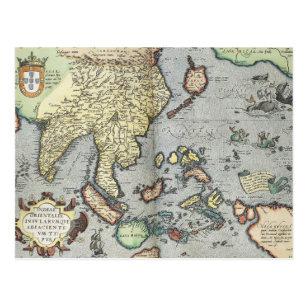 Vintage Map of India   1592 Postcard
