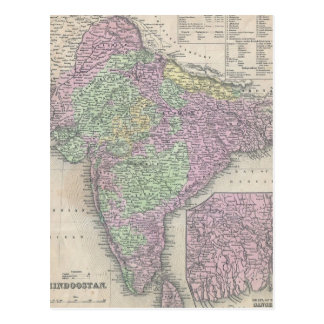 Vintage Map of India (1853) Postcard