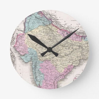 Vintage Map of India (1855) Round Clock