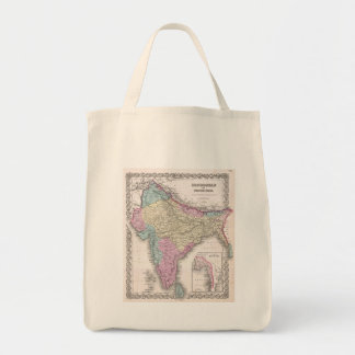 Vintage Map of India (1855) Tote Bag
