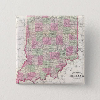 Vintage Map of Indiana (1864) 15 Cm Square Badge