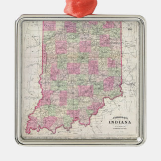 Vintage Map of Indiana (1864) Christmas Ornament