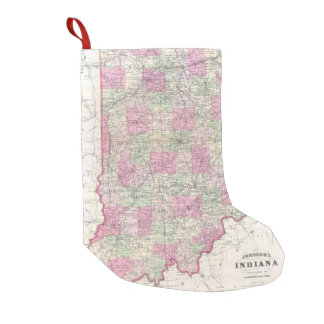 Vintage Map of Indiana (1864) Small Christmas Stocking