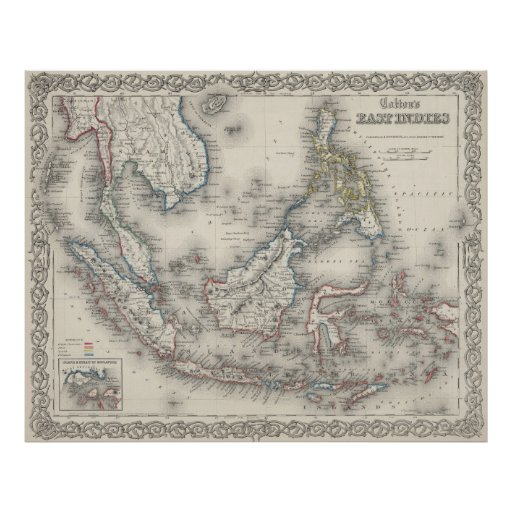 Vintage Map of Indonesia and The Philippines Poster