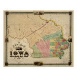 Vintage Map of Iowa (1845) Poster