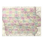 Vintage Map of Iowa (1855) Post Cards