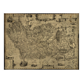 Vintage Map of Ireland (1606) Poster