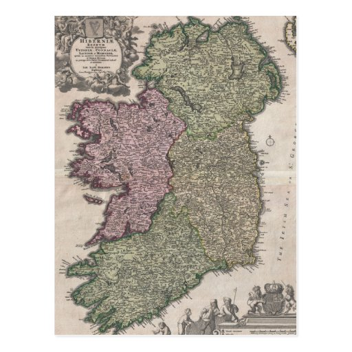 Vintage Map of Ireland (1716) Post Card