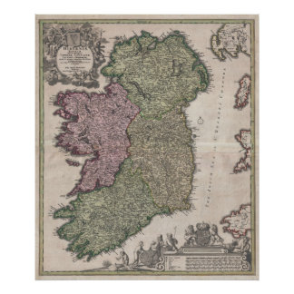 Vintage Map of Ireland (1716) Poster