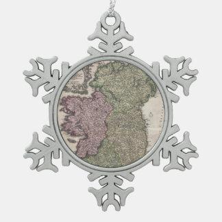 Vintage Map of Ireland (1716) Snowflake Pewter Christmas Ornament