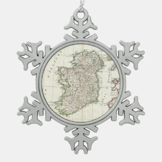 Vintage Map of Ireland (1771) Snowflake Pewter Christmas Ornament