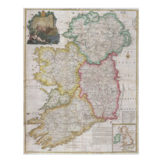 Vintage Map of Ireland (1794) Poster