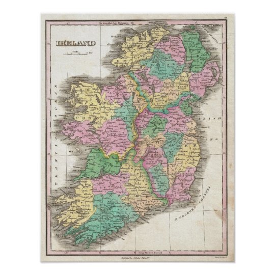 Vintage Map of Ireland (1827) Poster