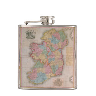 Vintage Map of Ireland (1835) Hip Flask