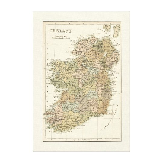 Vintage Map of Ireland 1862 Canvas