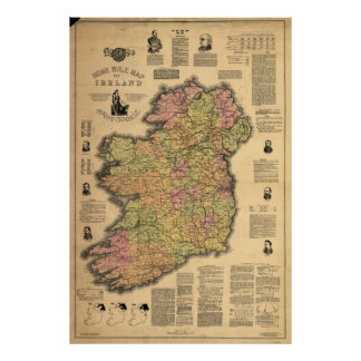 Vintage Map of Ireland (1893) Poster