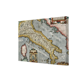 Vintage Map of Italy (1584) Canvas Print