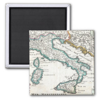 Vintage Map of Italy (1706) Square Magnet