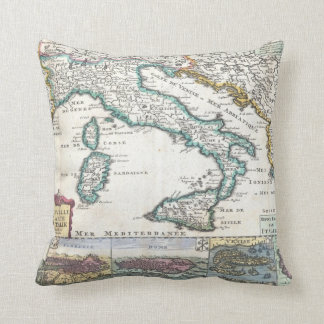 Vintage Map of Italy (1706) Throw Pillow