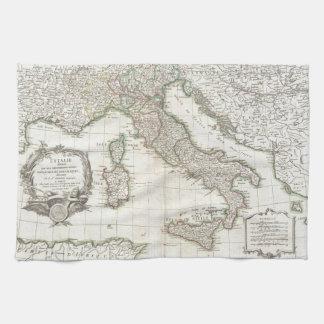 Vintage Map of Italy (1770) Tea Towel