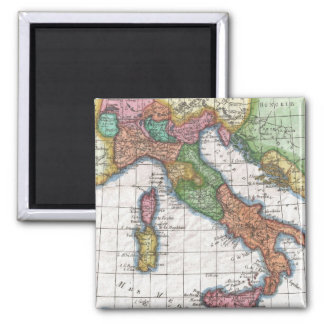 Vintage Map of Italy (1780) Square Magnet