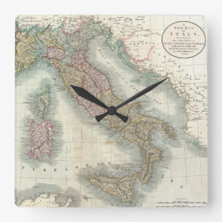 Vintage Map of Italy (1799) Square Wall Clock