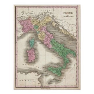 Vintage Map of Italy (1827) Poster
