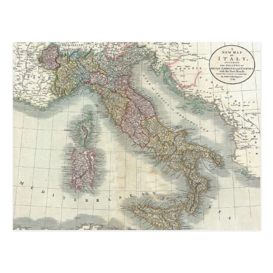 Vintage Map of Italy Postcard