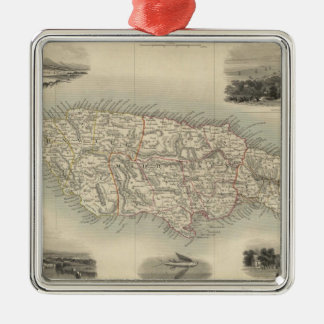 Vintage Map of Jamaica (1851) Christmas Ornament
