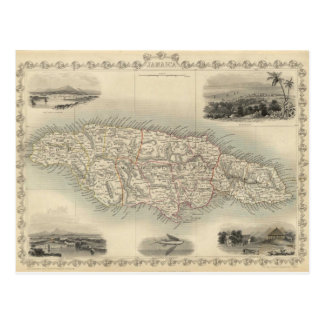Vintage Map of Jamaica (1851) Postcard