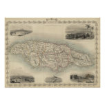 Vintage Map of Jamaica (1851) Poster