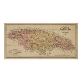 Vintage Map of Jamaica (1893) Poster