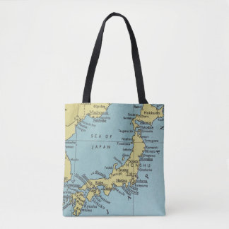 Vintage map of Japan tote bag