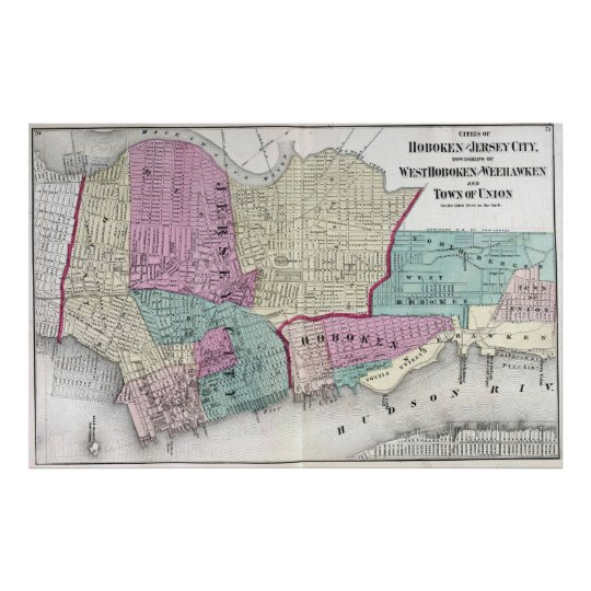 Vintage Map of Jersey City, Hoboken & Weehawken NJ Poster