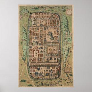 Vintage Map of Jerusalem Israel (1584) Poster