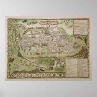 Vintage Map of Jerusalem Israel (16th Century) Poster