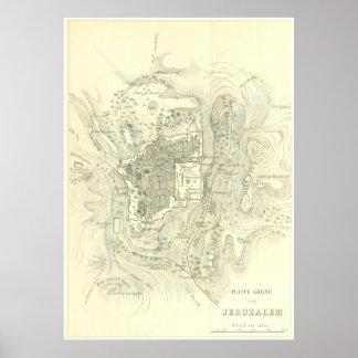 Vintage Map of Jerusalem Israel (1859) Poster