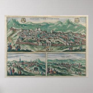 Vintage Map of Jerusalem, Nazareth and Rame Israel Poster