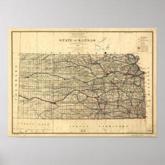 Vintage Map of Kansas (1884) Poster