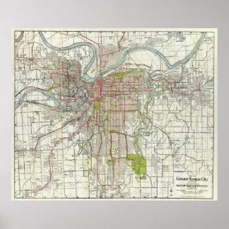 Vintage Map of Kansas City Missouri (1920) Poster