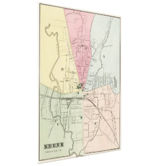 Vintage Map of Keene New Hampshire (1877) Gallery Wrapped Canvas