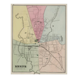 Vintage Map of Keene New Hampshire (1877) Poster