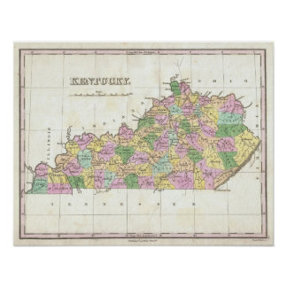 Vintage Map of Kentucky (1827) Posters