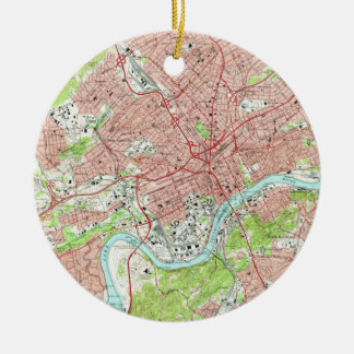 Vintage Map of Knoxville Tennessee (1966) Christmas Ornament