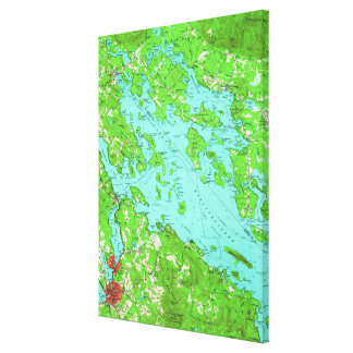 Vintage Map of Lake Winnipesaukee (1956) Canvas Print