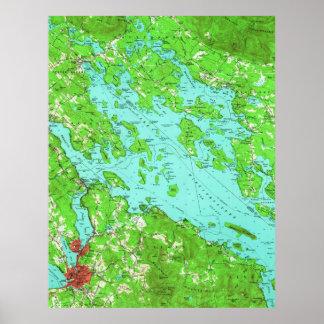 Vintage Map of Lake Winnipesaukee (1956) Poster