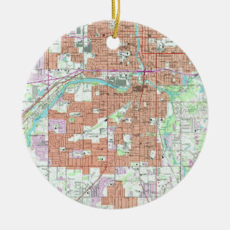 Vintage Map of Lansing Michigan (1965) Christmas Ornament
