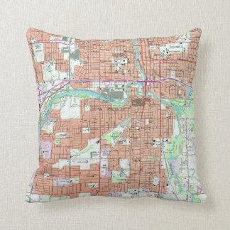 Vintage Map of Lansing Michigan (1965) Cushion