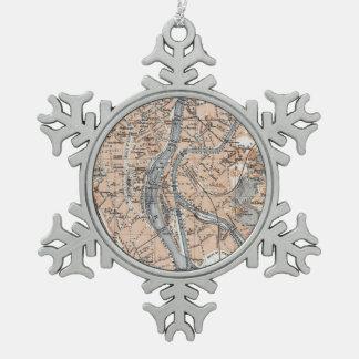 Vintage Map of Liège Belgium (1905) Pewter Snowflake Decoration