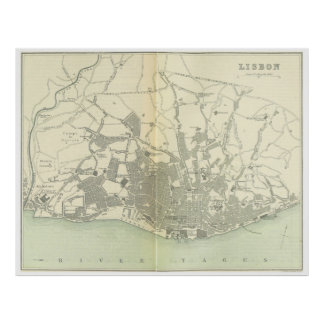 Vintage Map of Lisbon Portugal (1895) Poster